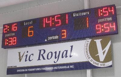 Tableau de pointage de hockey 4707 (18' x 4') - Centre Sanimarc - Victoriaville, Qc